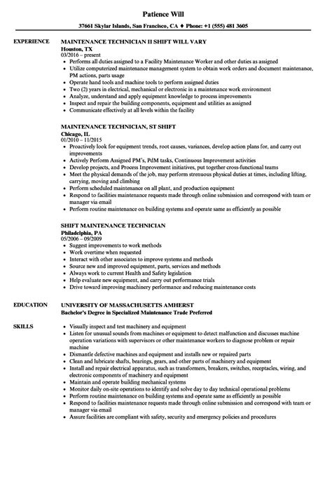 Maintenance Technician Resume