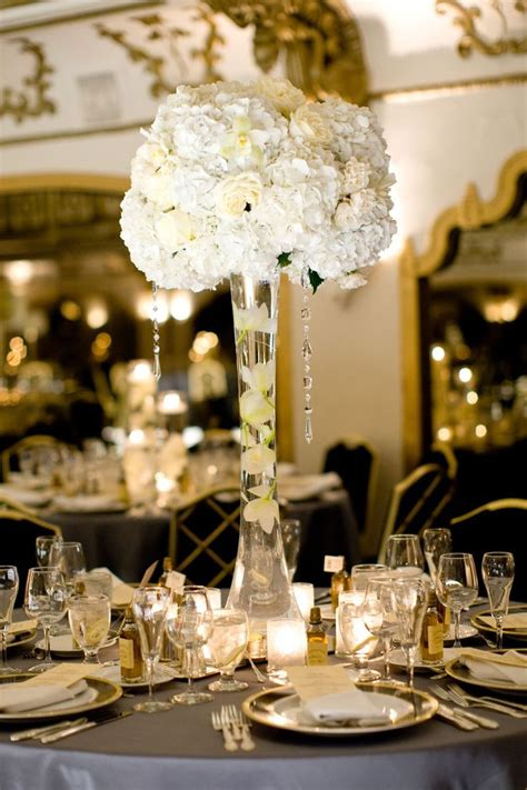 Hydrangea And Roses Tall Centerpieces Wedding Bouquets White Vase Centerpiece