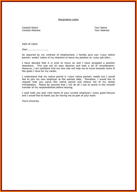 Contract Notice Letter Letter Sle Letter Of Resignation Template Sle Resignation Letter For Contract Of