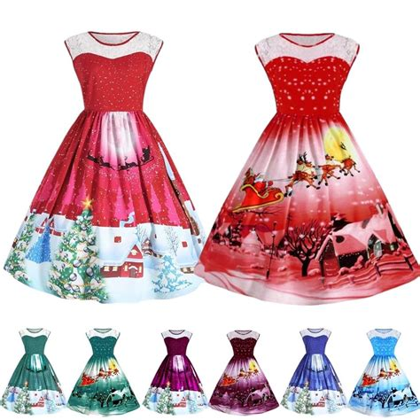 women s girls santa christmas lace dresses rockabilly xmas