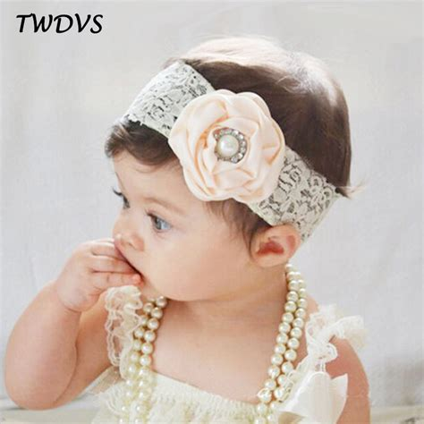 beautiful flower headwear baby elastic twdvs newborn lace band flower headband newborn lace wrap
