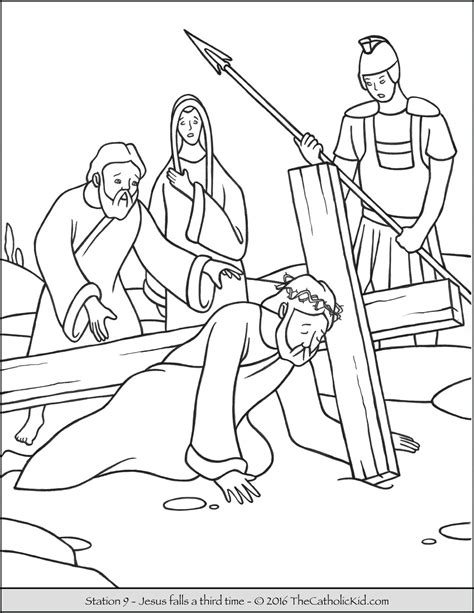 coloring pages of jesus carrying the cross stations of the cross coloring pages the catholic kid
