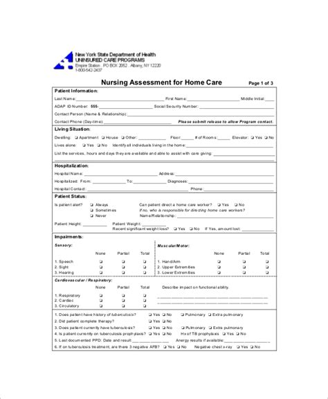 nursing assessment template images templates design ideas
