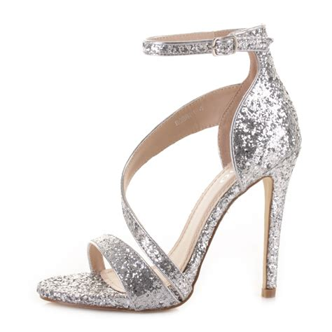 High Heels Gliter Silver Lj 05 Murah womens silver glitter strappy prom wedding high heel