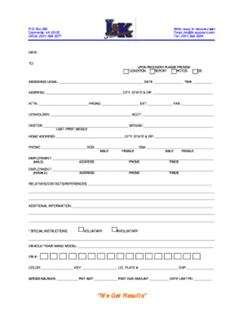 Repossession Order Form Fill Online Printable Fillable Blank Pdffiller Repossession Order Form Template