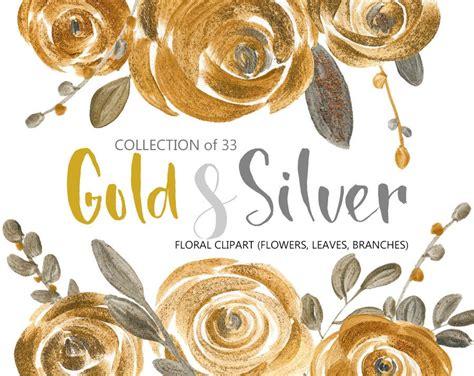 flower clipart gold silver acrylic roses metallic glitter