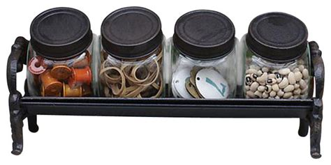 Decorative Glass Jars For Kitchen by Decorative Glass Jars W Cast Iron Lids Rack Set