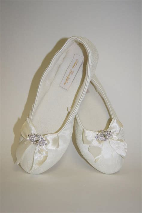 Flat Shoes Ribbon flat lace wedding shoes choose from white or ivory lace