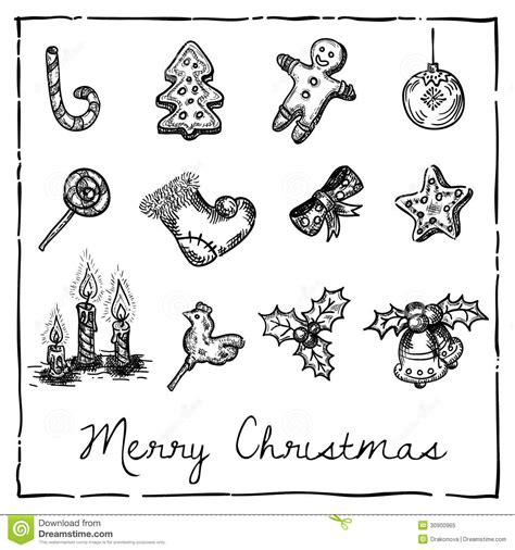 christmas themed drawing set of christmas themed elements royalty free stock photo