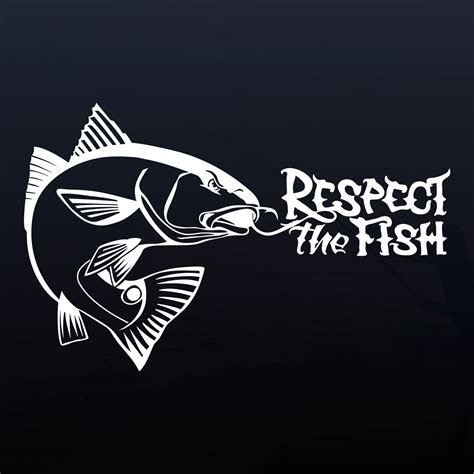 Sticker Water Decal Kode 1597 hooked redfish decal respect the fish