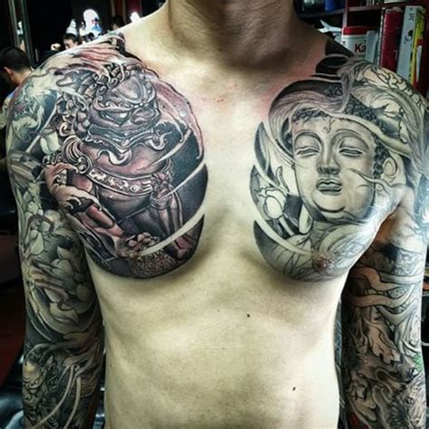 oriental tattoo on chest foo dog and buddha chest plate piece in progress done by