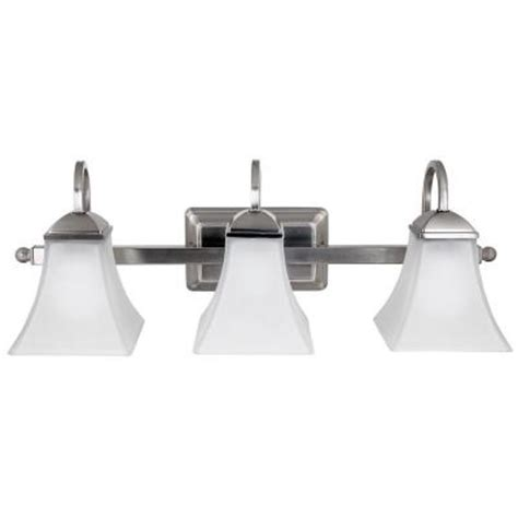 Hton Bay Bathroom Lighting Hton Bay 3 Light Brushed Nickel Led Vanity Light 017801739961 Ebay