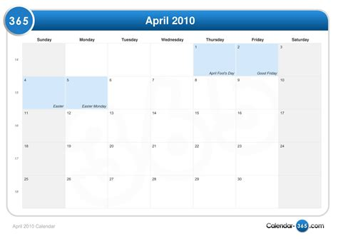 April 2010 Calendar April 2010 Calendar