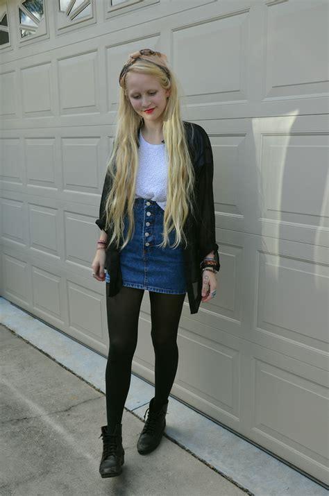 callie s h m sheer button up bongo denim skirt thrift