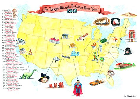 road trip maps of the usa the ultimate pop culture road trip map by chris tupa