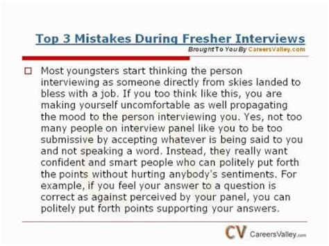 Tell Me About Yourself For Mba Freshers by Top 3 Mistakes During Fresher Interviews Fresher Tips