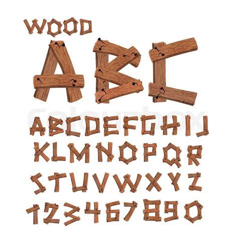 wood font  boards alphabet wooden stock vector