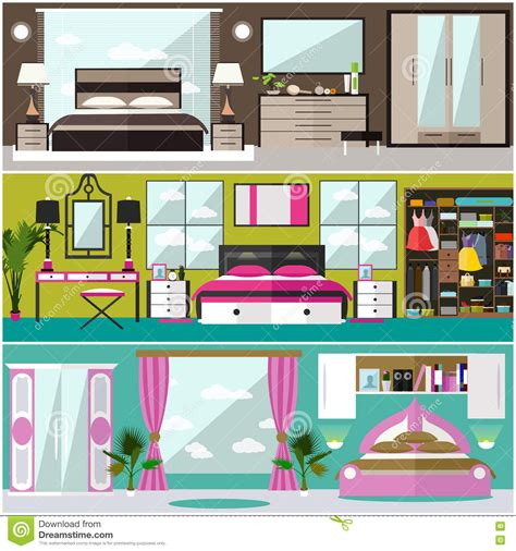 bedroom interior banners set in flat style vector bedroom interior banners set in flat style vector