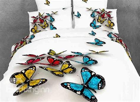 3d bedding vivid colorful butterfly 3d printed 4 piece cotton duvet cover sets beddinginn com