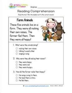 reading for kindergarten farm animals a wellspring