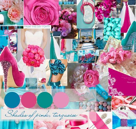 pink grey and turqouise wedding inspirational board shades of pink and turquoise wedding