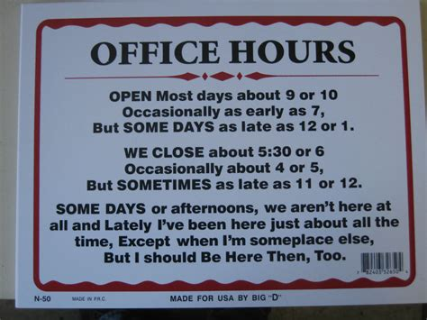 Office Hours Sign Office Hours Sign Plastic Humorous 12 Quot X 9 Quot 32650