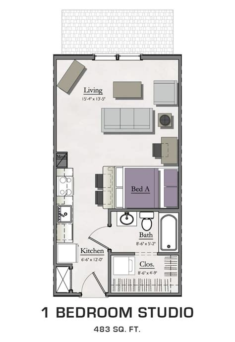 one bedroom efficiency studio apartment floor plans webthuongmai info
