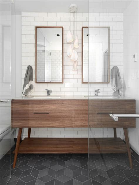 Modern Bathroom Tile by Gorgeous Modern Bathroom With Mid Century Vanity Slate