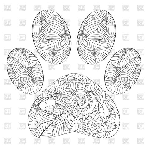 clipart da colorare abstract animal paw print coloring page royalty free
