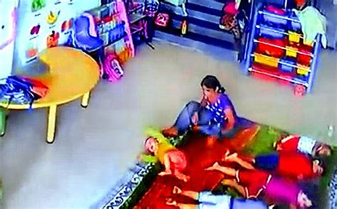 doodlebug playschool toddler hit kicked on day at mumbai playschool