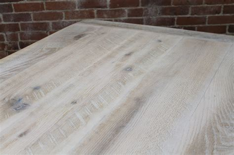 White Washed Farm Table with Custom Trestle   ECustomFinishes