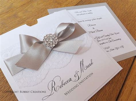 satin bow wedding invitations lace and diamante wallet wedding invitation with satin