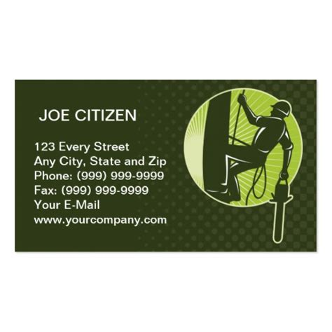 Tree Service Business Card Template by Arborist Tree Surgeon Agriculturist Chainsaw Business Card