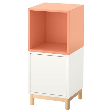 Ikea Kitchen Cabinet Legs Eket Cabinet Combination With Legs White Light Orange 35x35x80 Cm Ikea