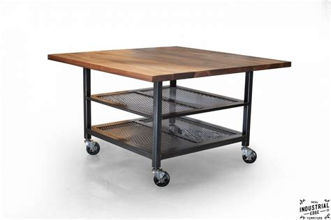 walnut steel industrial kitchen island dining table