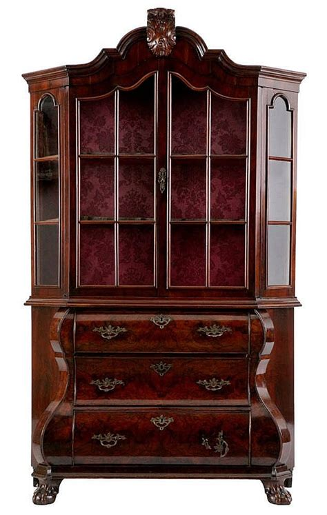 cabinet cornice display cabinet burr walnut arched moulded cornice above