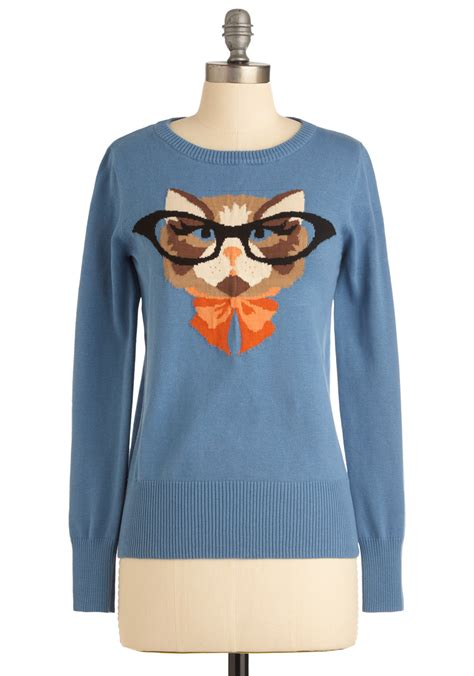 Sweater Cat 2 louche cat eyeglasses sweater sweater jacket