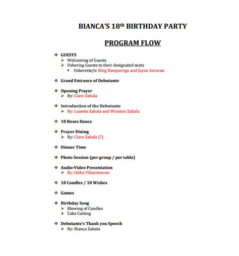 Year End Function Program Template by Birthday Program Sles