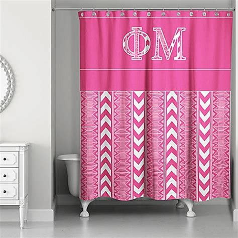 mizzou shower curtain phi mu shower curtain in pink white bed bath beyond