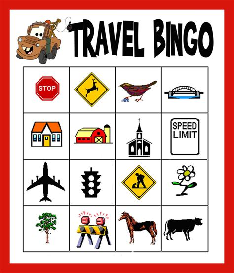 Travel Bingo Card Template by Pics For Gt Printable Road Trip Bingo Cards