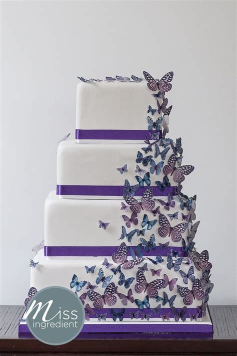 Wedding Cake with purple butterflies by Miss Ingredient