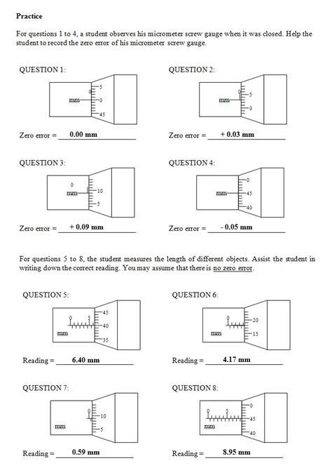 Reading A Micrometer Worksheet by Micrometer Worksheet Worksheets