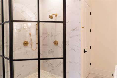 Brass Shower Doors Glass And Marble Shower Enclosure With Brass Shower Door Handle Transitional Bathroom