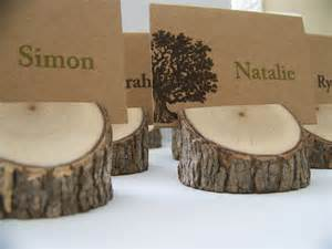 rustic wood tree place card holders set of 10 by monkeysontheroof