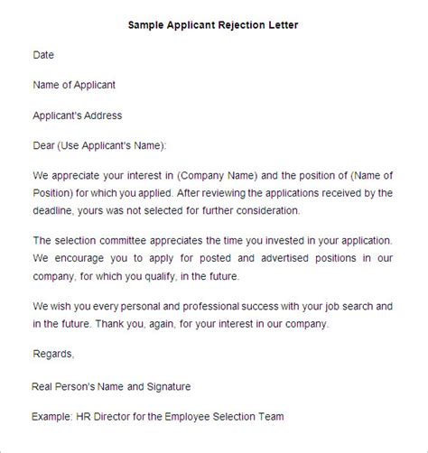 exle of rejection letter to applicant cover letter