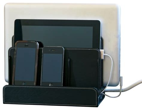 Faux Leather Desk Accessories Faux Leather Multi Charging Station Contemporary Desk Accessories By Great Useful Stuff