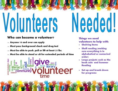Flyer Design Needed | volunteers needed greenwood library