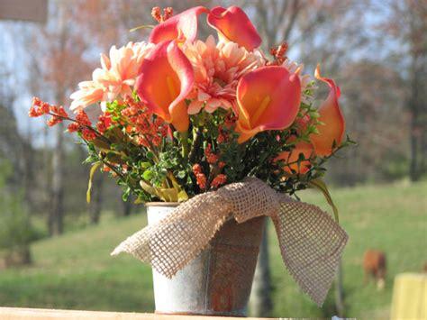 tin buckets for centerpieces rustic centerpiece silk floral arrangement tin