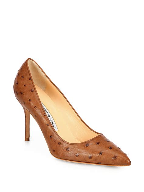 manolo blahnik bb ostrich leather pumps in brown lyst