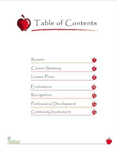 cda portfolio template sle portfolio table of contents preschool is